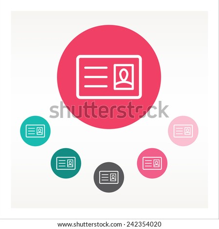 Flat ID card icon vector color set - stock vector