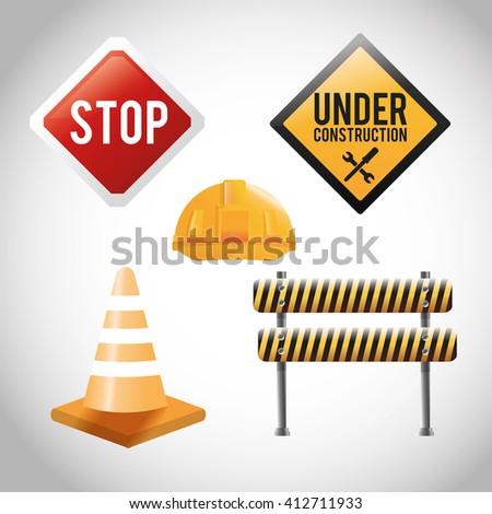 Flat illustration about under construction design and road signs