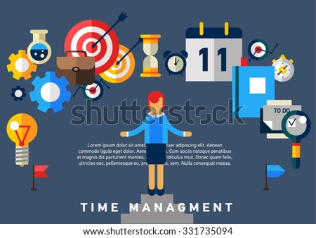 Flat illustration concept of effective businessman who plans and organizes working time, deals deadlines, achieves goals.Can used for web banners, hero images, printed materials. Management concept  - stock vector