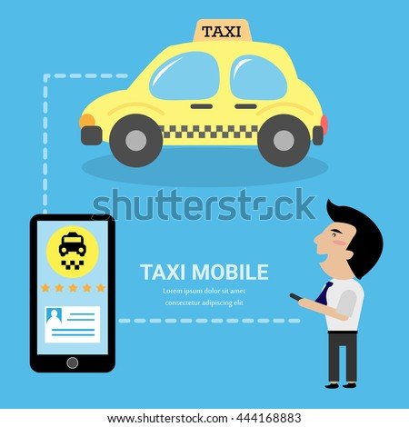 Flat illustration concept process of booking taxi via mobile app