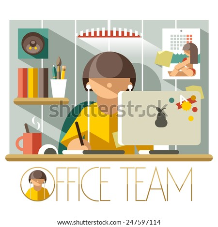 Flat illustration creative designer in the workplace - stock vector