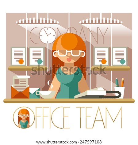 Flat illustration of a woman secretary in the workplace - stock vector