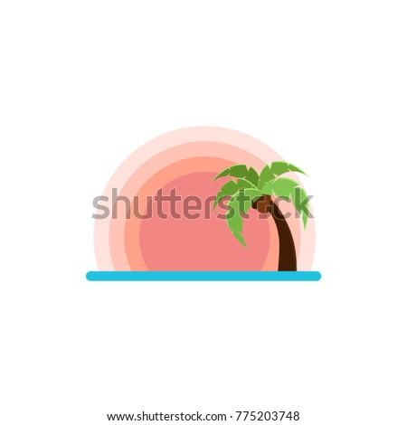 Flat Illustration Of Beach With Sunset And Palm Tree Vector For Logo Sites Or