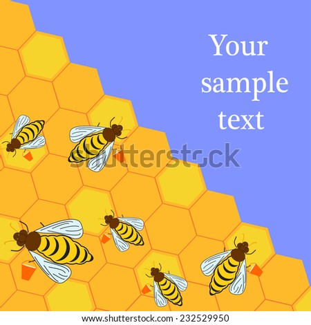 Flat illustration of bees with buckets and honeycombs