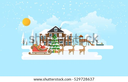 Flat Illustration of Christmas Tree in Snowy Landscape with Santa Claus. Vector Design.