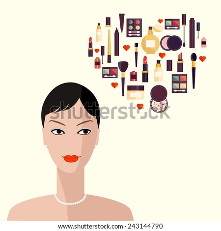 Flat illustration of cosmetic elements. Flat icon of cosmetics product. Vector flat design of make up. Vector flat design of make up procedure. Make up elements. Make up vector details. Woman face.