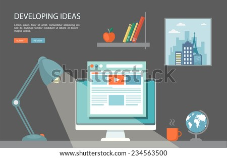 Flat  illustration of desktop with computer and lamp.Eps10 - stock vector