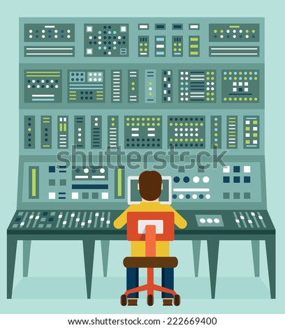 Flat illustration of expert with control panel. Analytics and management - vector illustration - stock vector