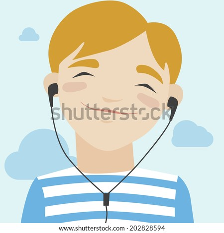 Flat illustration of happy little smiling boy in casual t-shirt walking and listening to music via headphones. Modern design style vector illustration concept.  - stock vector