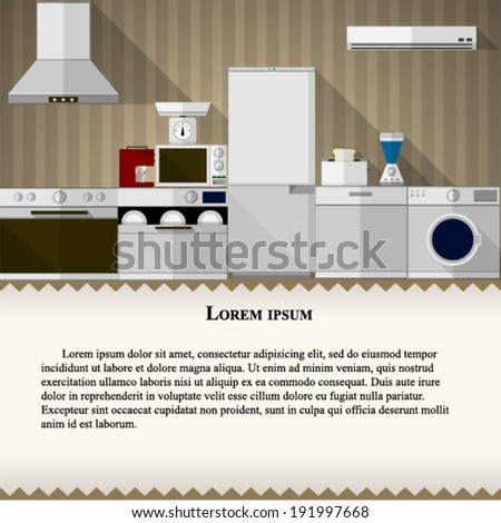 Flat illustration of kitchen. Flat illustration of kitchen with white and colored equipment. - stock vector