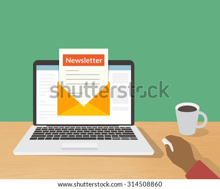 Flat illustration of man reading daily newsletter on his laptop at home - stock vector