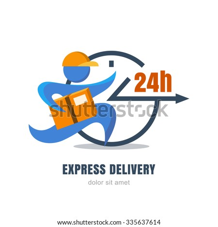 Flat illustration of running man with postal box and clock. Courier with parcel. Vector logo design template. Concept for express delivery service, free shipping from internet shop and online store. - stock vector