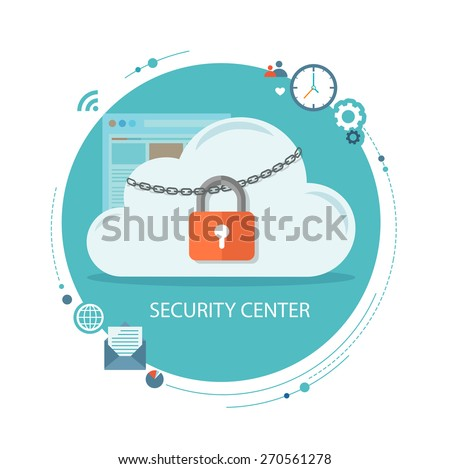 Flat illustration of security center. Cloud  with lock and icons. Eps10 - stock vector