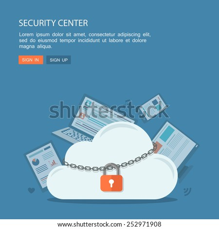 Flat illustration of security center. Lock with chain around cloud. Eps10 - stock vector