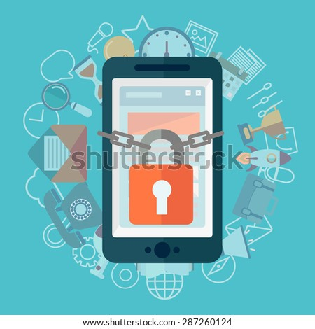 Flat illustration of security center. Lock with chain around phone - stock vector