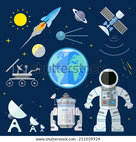 Flat illustration of various space elements. - stock vector