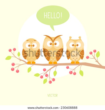 flat illustration with cartoon beautiful and funny owls sitting on a branch. Vector illustration - stock vector