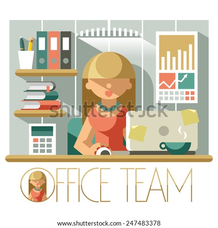 Flat illustration woman accountant in the office workplace - stock vector