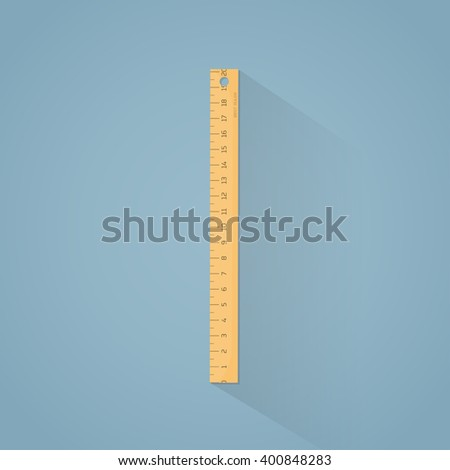 Flat illustration. Wooden ruler with centimeters scale.