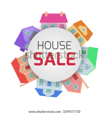 Flat illustrations of country houses in a circle with space for text. Property For Sale - stock vector