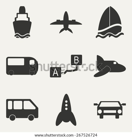 Flat in black and white concept mobile application transportation icons  - stock vector