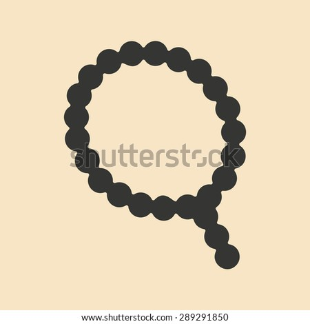 Flat in black and white mobile application rosary - stock vector
