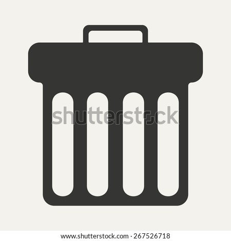Flat in black and white mobile application waste basket - stock vector
