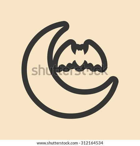 Flat in black and yellow mobile application moon bat  - stock vector