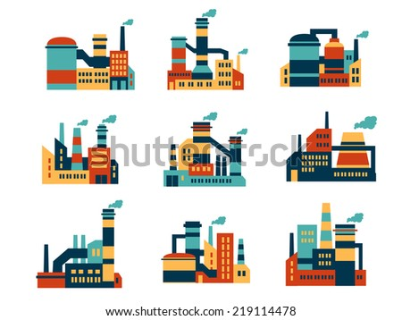 Flat industrial buildings and factories icons isolated on white background for infographics and industry design - stock vector