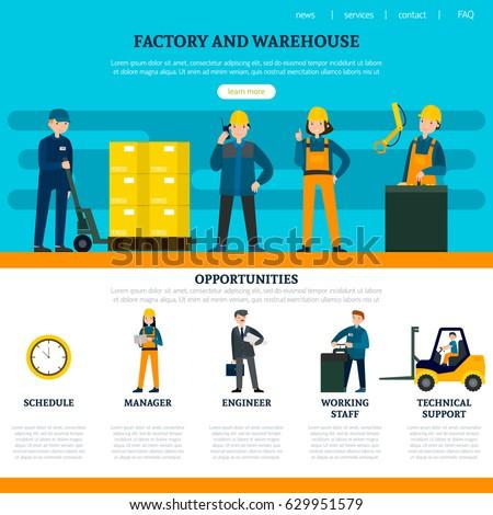 Flat Industrial Website Template Factory Warehouse Stock Vector ...