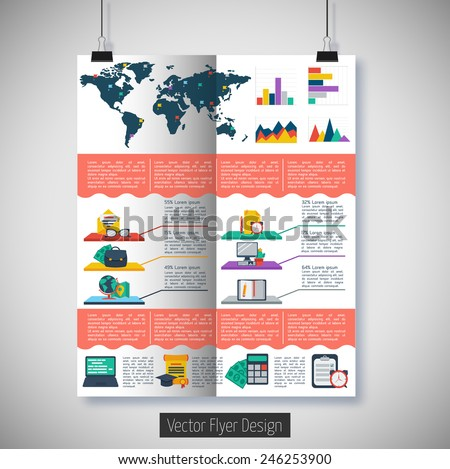 Flat infographic background. Colorful template for you design, web and mobile applications.