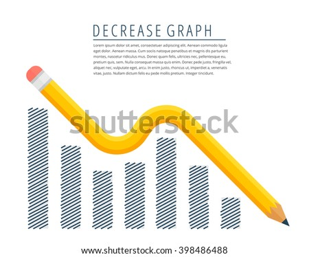 Flat infographic decreasing graph concept. Yellow pencil as a downtrend arrow with hand drawn column chart. Infographics vector elements for business publish, web, social media.  - stock vector