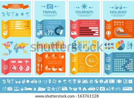 Flat Infographic Elements plus Icon Set. Vector EPS 10. - stock vector