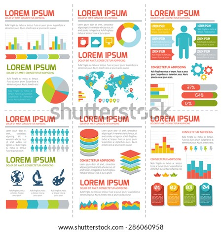 Flat infographic elements set. Colorful template for your design, web and mobile applications.