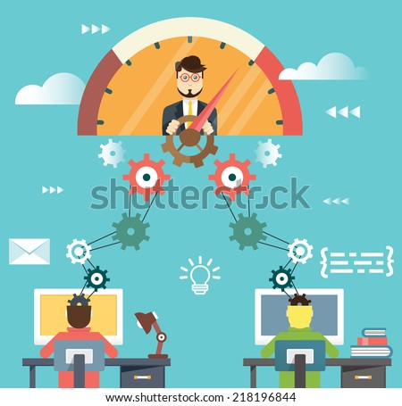 Flat infographic of management human resources and business success - vector illustration - stock vector