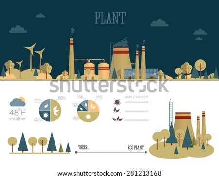 flat infographic plant design with graphics eco elements, set elements collections - stock vector