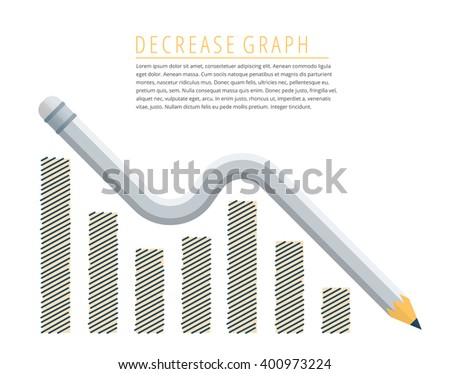 Flat infographic reduction business concept. Grey pencil as a decreasing graph arrow with recession hand drawn column chart. Infographics vector elements for web, publish, social networks.  - stock vector