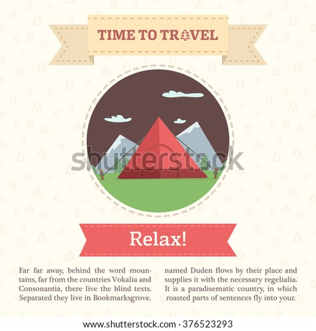 Flat infographic vector illustration of a tent on a mountain background.  sc 1 st  Shutterstock & Flat Infographic Vector Illustration Tent On Stock Vector ...