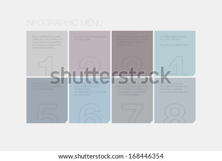 Flat infographic vector interface design of abstract square style menu with modern ui elements and text for business presentation in soft stylish pastel color palette. Isolated on white background. - stock vector