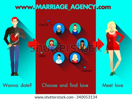 Flat infographics of Marriage agency search and selection of the ideal couple, a banner with man and woman with gifts. Love, dating, date, search for a partner - stock vector