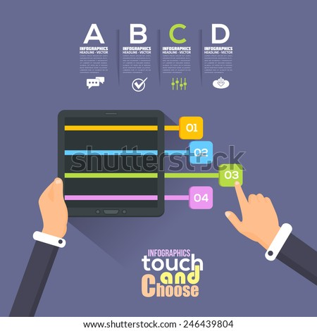 Flat Infographics Template and Arrow and Web Elements - Business, Marketing Touch and Choose Concept Vector Design Hand Hold Tablet  - stock vector