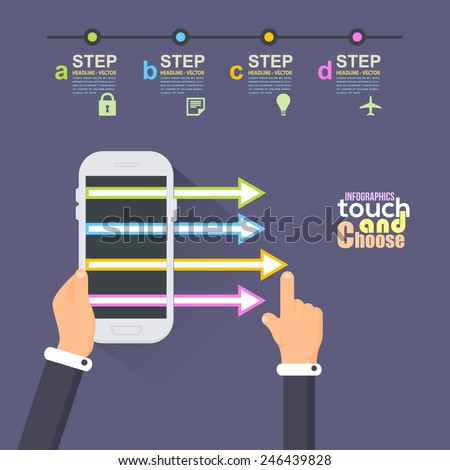 Flat Infographics Template and Arrow and Web Elements - Business, Marketing Touch and Choose Concept Vector Design Hand Hold Phone - stock vector
