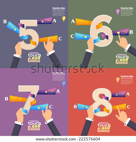 Flat Infographics Template and Web Elements - Business, Marketing Touch and Choose Concept Vector Design Numbers 5, 6, 7, 8 - stock vector