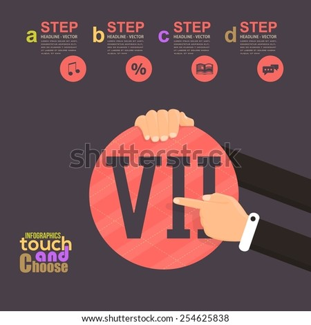 Flat Infographics Template and Web Elements - Business, Marketing Touch and Choose Concept Vector Design, Roman Numerals Seven - stock vector