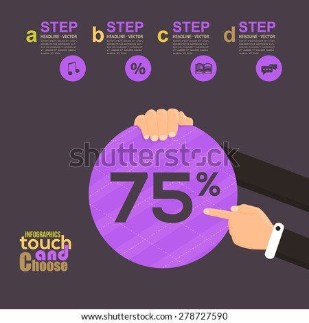 Flat Infographics Template and Web Elements - Business, Marketing Touch and Choose Concept Vector Design 75 Percent - stock vector