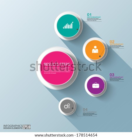 Flat infographics with a long shadow - stock vector