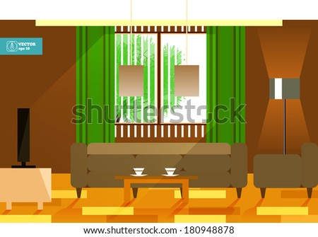 Flat interior room. Vector - stock vector