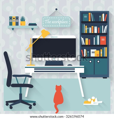 Flat interior vector design. Workspace for freelancer and home work. - stock vector