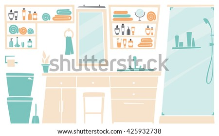 Flat interiors. Interior of bathroom place concept in flat design. Bathroom icons and elements in minimalistic style and color.