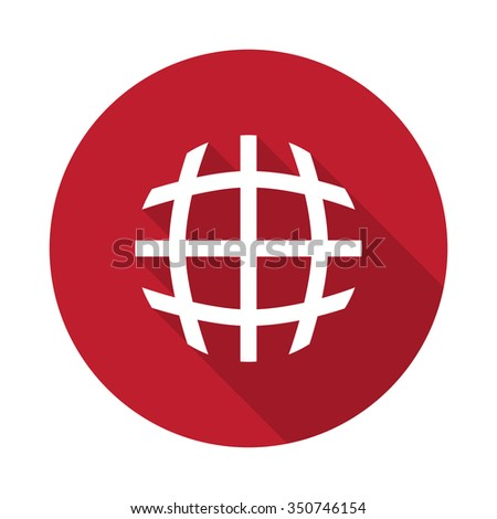 Flat International  icon with long shadow on red circle - stock vector